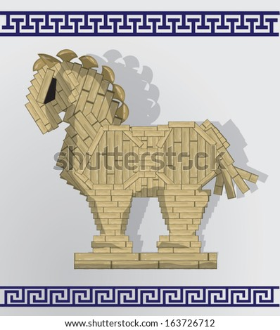 Trojan horse with greek patterns - stock vector