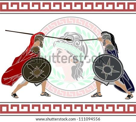 trojan war. stencil. second variant. vector illustration - stock vector