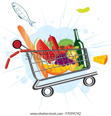 Trolley full of delicious food flies from the supermarket - stock vector