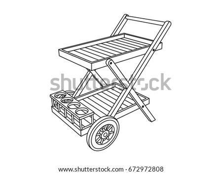 Trolley Furniture Drawing Instruction Stock Vector Royalty Free