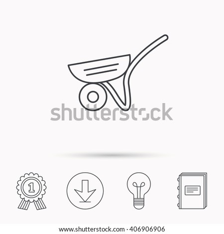 Trolley icon. Garden cart sign. Gardener equipment symbol. Download arrow, lamp, learn book and award medal icons. - stock vector