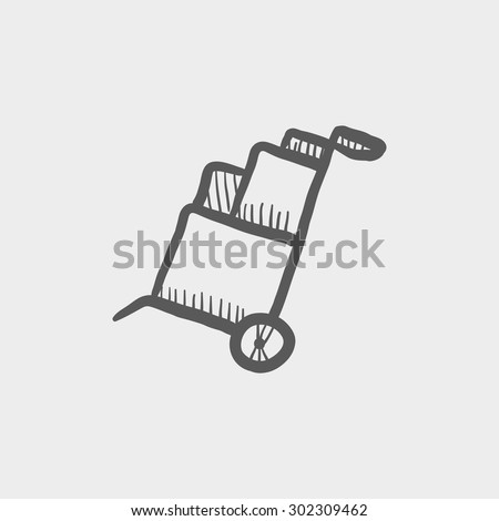 Trolley with boxes sketch icon for web and mobile. Hand drawn vector dark grey icon on light grey background. - stock vector