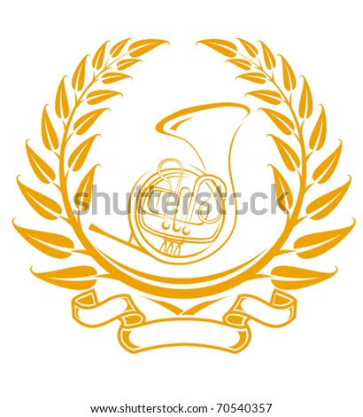 Trombone symbol in laurel wreath isolated on white - also as emblem. Jpeg version also available