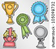 Trophies and awards set - stickers -hand-drawn illustration - stock vector