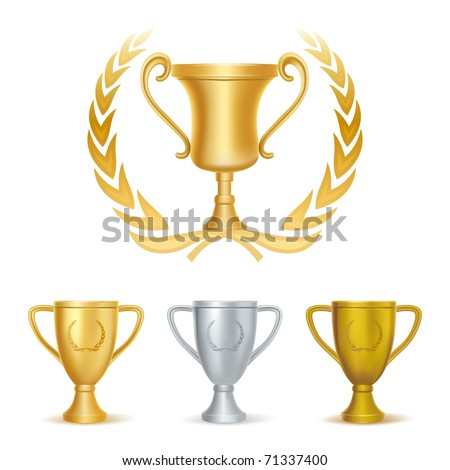 trophies-gold silver and bronze - stock vector