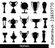 trophies silhouettes - stock vector