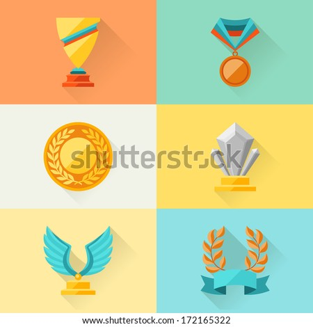 Trophy and awards in flat design style. - stock vector