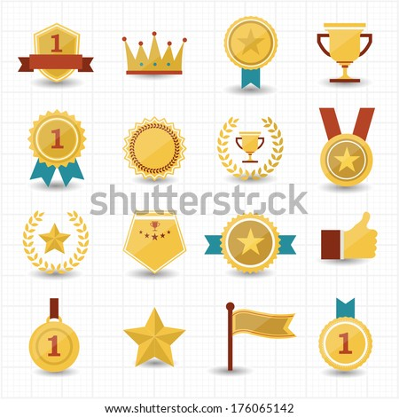 Trophy and prize icons with white background