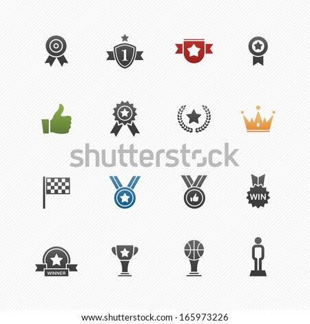 Trophy and prize vector symbol icon set on white background - stock vector