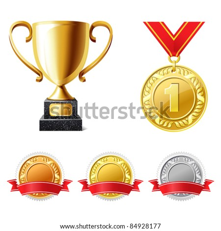Trophy cup and medals - stock vector