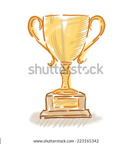 Trophy cup colorful sketch