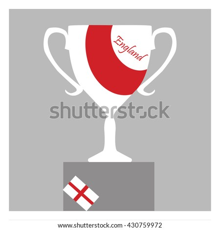 Trophy Cup Flat Icon with the England flag. Championship winner prize trophy symbol.  - stock vector