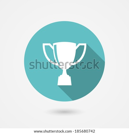 Trophy cup flat vector icon on a round blue frame conceptual of winning  champion  first  quality and excellence - stock vector