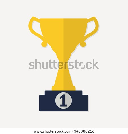 Trophy Cup icon on prize podium. First place award or Champions cup. Flat design. Vector illustration. - stock vector