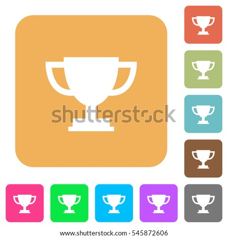 Trophy cup icons on rounded square vivid color backgrounds.