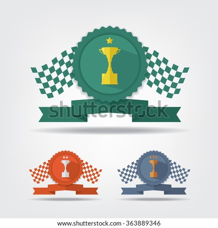 Trophy cup medals and flag - stock vector
