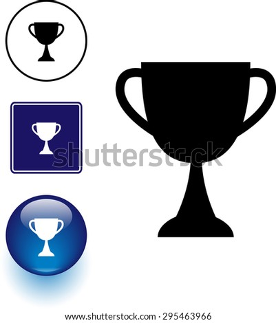trophy cup symbol, sign and blue glass button - stock vector