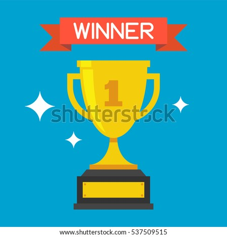 Trophy Cup Vector Flat Icon With Number One And Red Ribbon On Blue Background