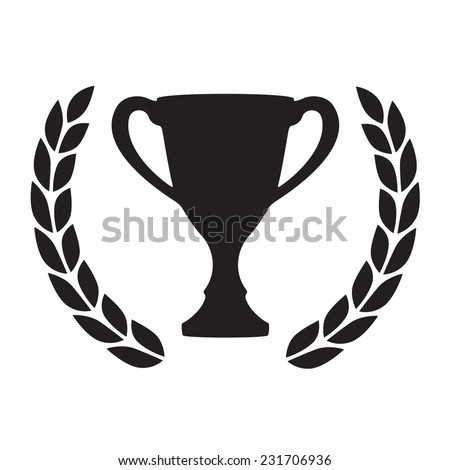Trophy cup with Laurel wreath. Award icon or sign. Black winner symbol on white background. Vector illustration.  - stock vector