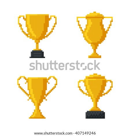 Trophy Gold Cup, Bit Design. Vector illustration. - stock vector