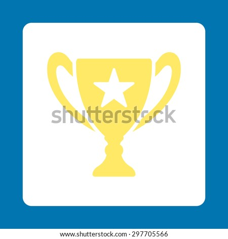 Trophy icon from Award Buttons OverColor Set. Icon style is yellow and white colors, flat rounded square button, blue background.