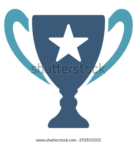 Trophy icon from Competition & Success Bicolor Icon Set. Vector style: flat bicolor symbols, cyan and blue colors, rounded angles, white background.