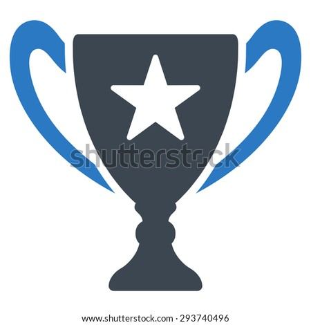 Trophy icon from Competition & Success Bicolor Icon Set. Vector style: flat bicolor symbols, smooth blue colors, rounded angles, white background.