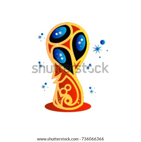 Trophy icon vector illustration, Football tournament 2018. logo for the summer soccer championship. Cup of confederations 2017 on football. Soccer world cup in russia 2018.