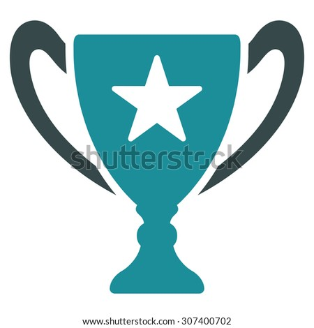 Trophy icon. Vector style is flat bicolor symbols, soft blue colors, rounded angles, white background.