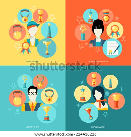 Trophy icons flat set of sport award rewarding teachers chess champions isolated vector illustration - stock vector
