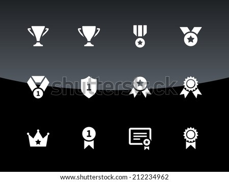 Trophy icons on black background. Vector illustration. - stock vector