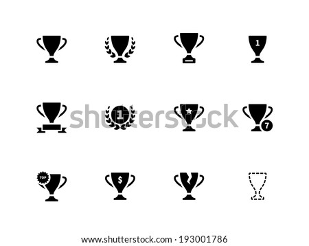 Trophy icons on white background. Vector illustration. - stock vector