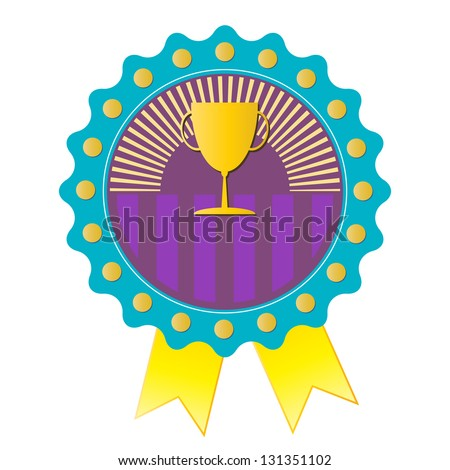 Trophy on blue badge, vector format - stock vector