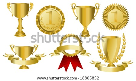 Trophy or medal on isalated white - stock vector