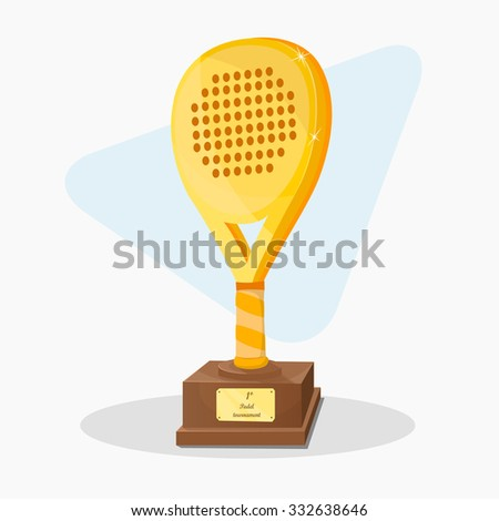 Trophy shaped padel racket. First prize. Gold Vector. - stock vector