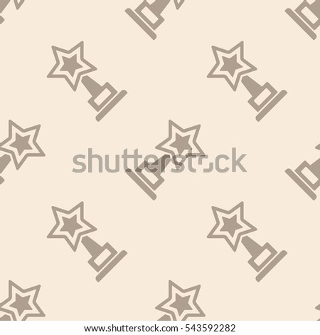 Trophy star cup and award icon seamless pattern, tiling vintage ornament. Vector illustration