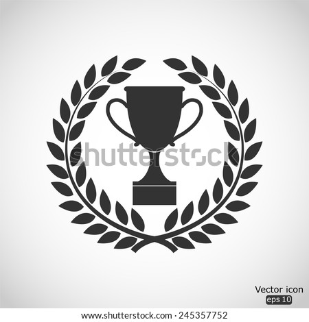 trophy vector icon in laurel wreath  - stock vector