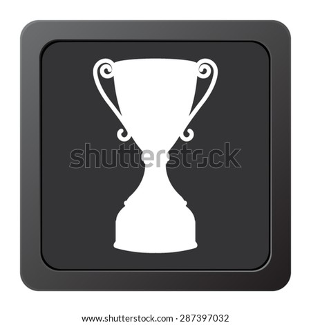 Trophy - vector icon, on a grey button - stock vector