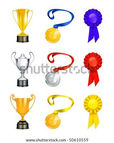 Trophy, vector icon set - stock vector