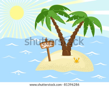 tropic island with palm trees and sale banner