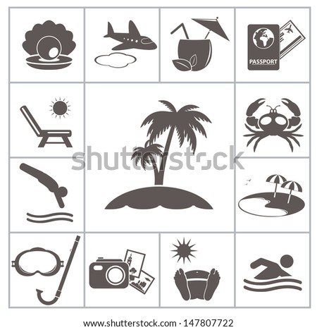 Tropic resort icons. For you design - stock vector