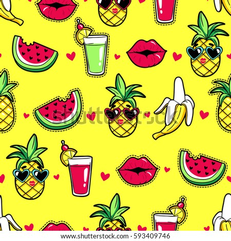 Tropic seamless pattern with pineapple, lips, cocktail, watermelon, banana. Vector background with fashion stickers and patches in cartoon 80s-90s trendy style.