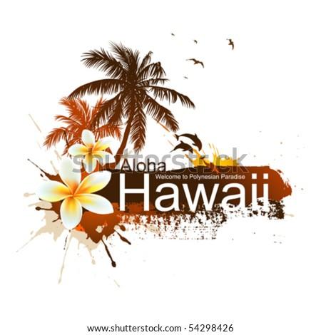 Tropical background. Aloha Hawaii.  Vector palms, dolphins, plumeria flower. - stock vector