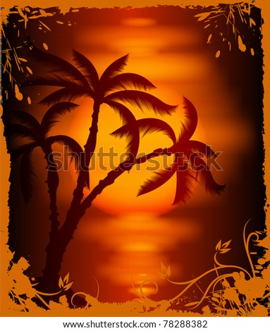 Tropical background. Vector - stock vector