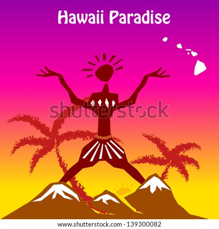 Tropical background Vector Hawaii, eps10  easy all editable