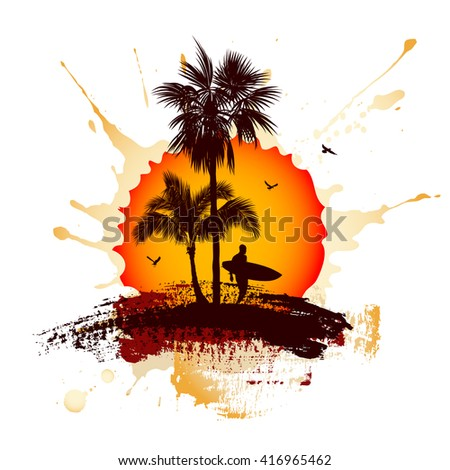 Tropical background with a surfer and palm trees - stock vector