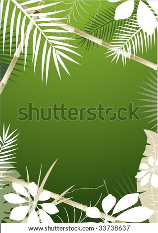 Tropical Background with Bamboo Frame - stock vector