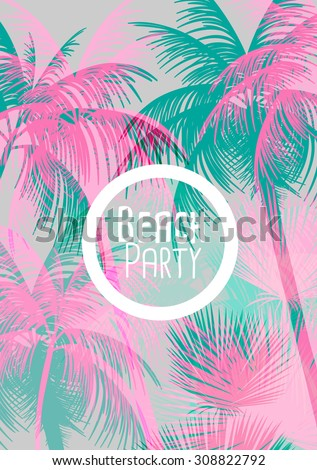 Tropical Background with Palm Tree - Vector Illustration - stock vector