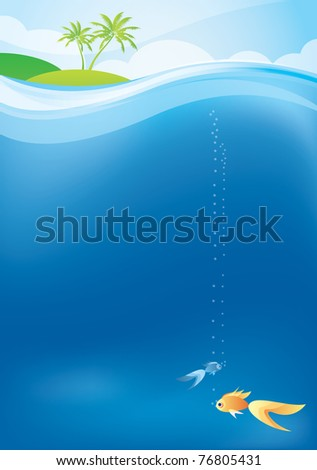 tropical background with the goldfish - stock vector