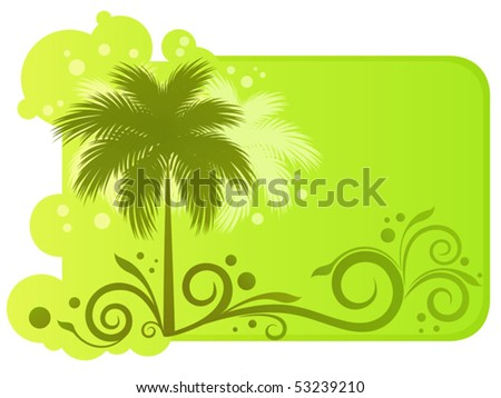 Tropical banner with palm trees, floral ornament and sunny glints - stock vector
